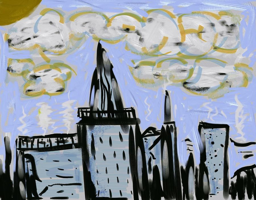 City In Blue Digital Art