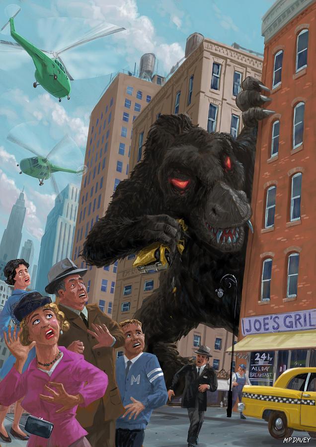 City Digital Art - City Invasion Furry Monster by Martin Davey