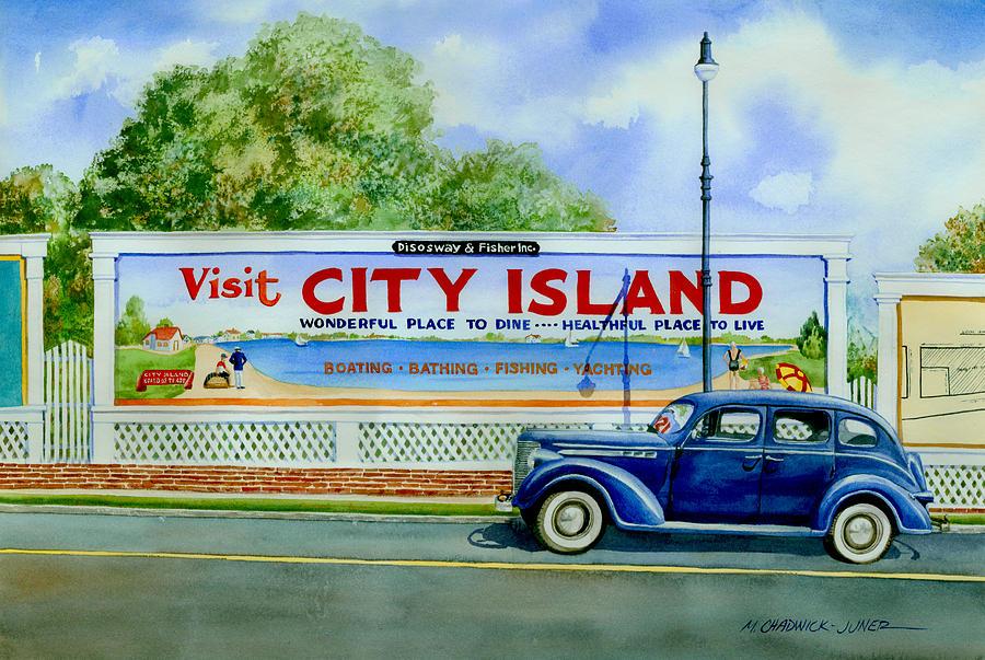 City Island Painting - City Island Billboard by Marguerite Chadwick-Juner