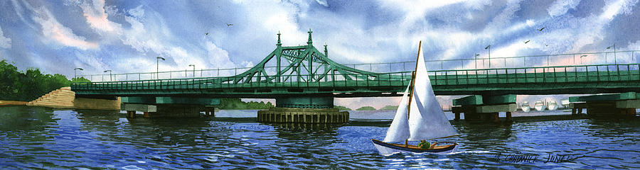 City Island Painting - City Island Bridge Summer by Marguerite Chadwick-Juner