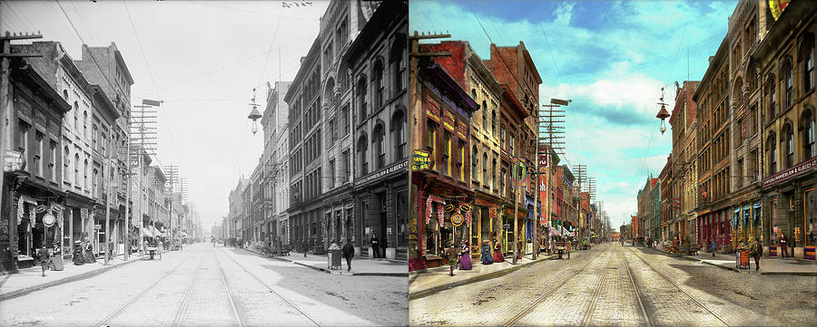 Self Photograph - City - Knoxville Tn - Gay Street 1903 - Side By Side by Mike Savad
