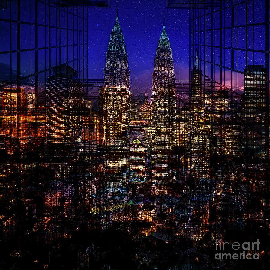 City Mixed Media - City Lights by Barbara Dudzinska