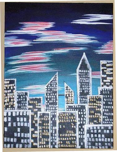 City Lights  Painting by Katy  Bruce