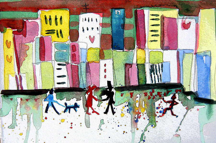 City Painting - City Love by Mindy Newman