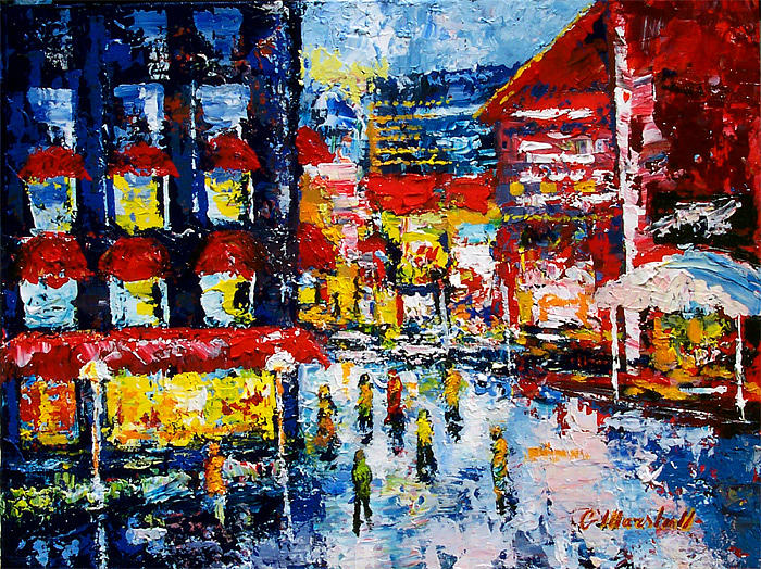Painting Painting - City Market Street by Claude Marshall
