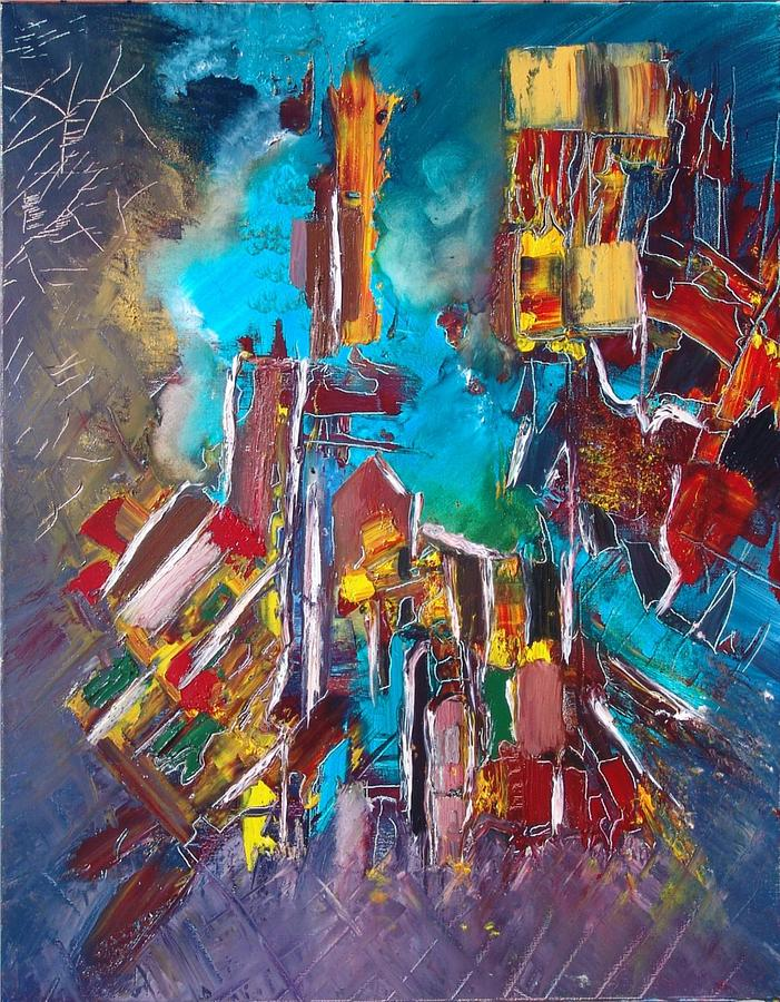 Abstract Painting - City Memory by Mona Roussette