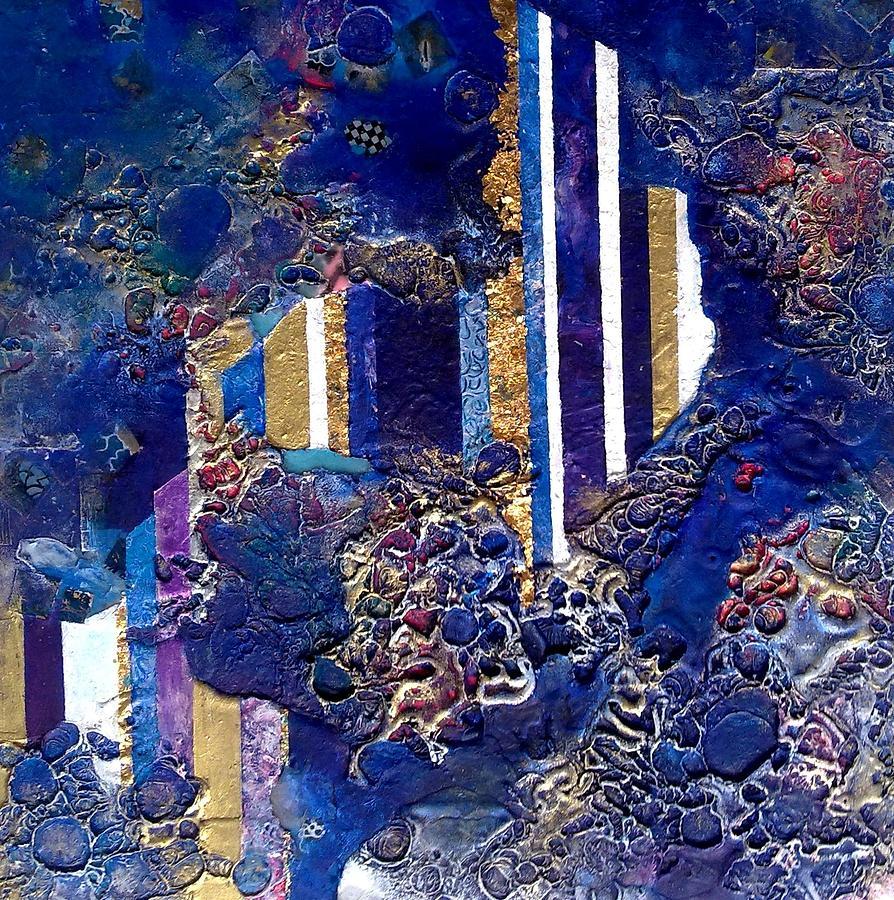 Citiscape Stripes Columns  Textural Mirage Wax Surface Deep Blue Stevens Lynda Semi-asbtract Mixed Media - City Mirage by Lynda Stevens