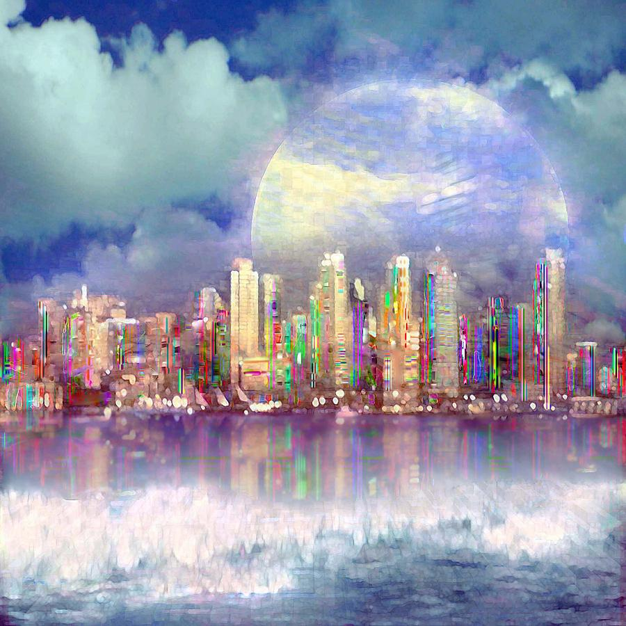 City Moon Digital Art By Ted Packman