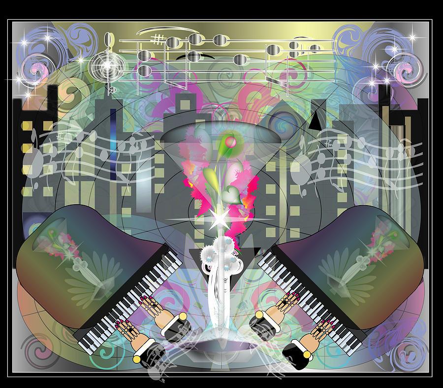 Giclee Digital Art - City Night Life by George Pasini