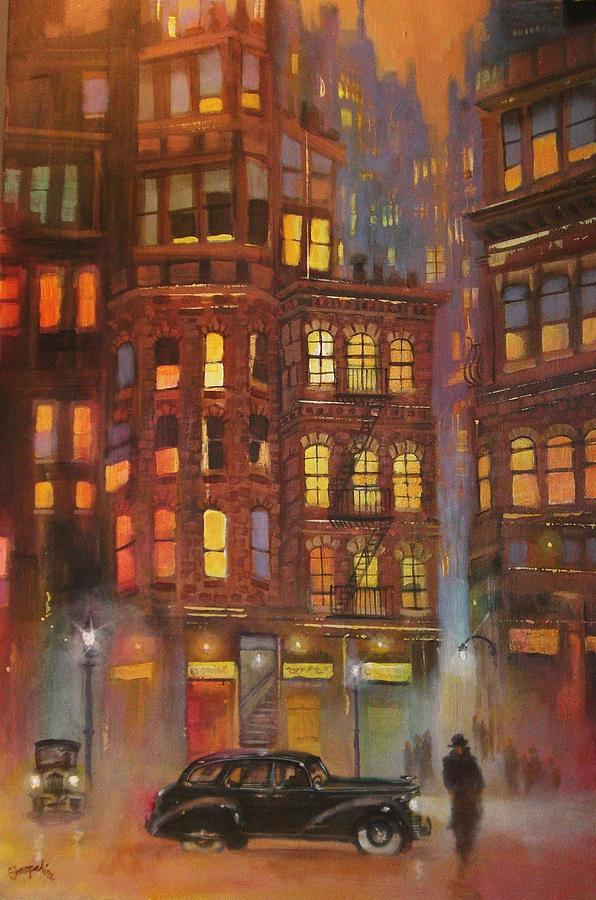 City Noir Painting By Tom Shropshire