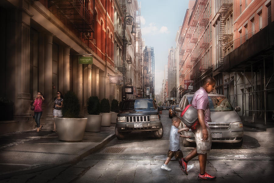 Savad Photograph - City - Ny - Walking Down Mercer Street by Mike Savad