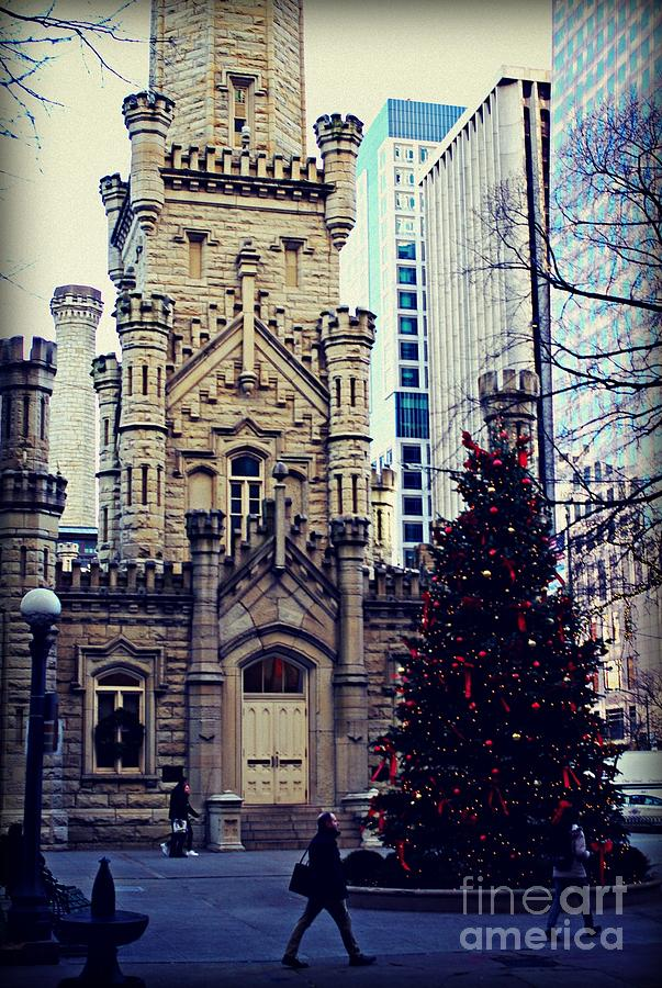 America Photograph - City of Chicago Old Water Tower Christmas by Frank J Casella
