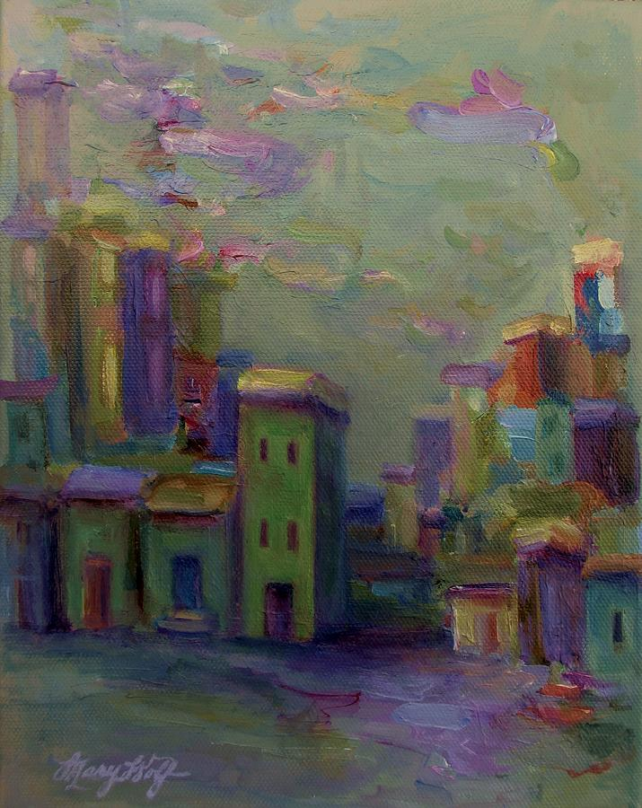 Cityscape Painting - City Of Color And Light by Mary Wolf