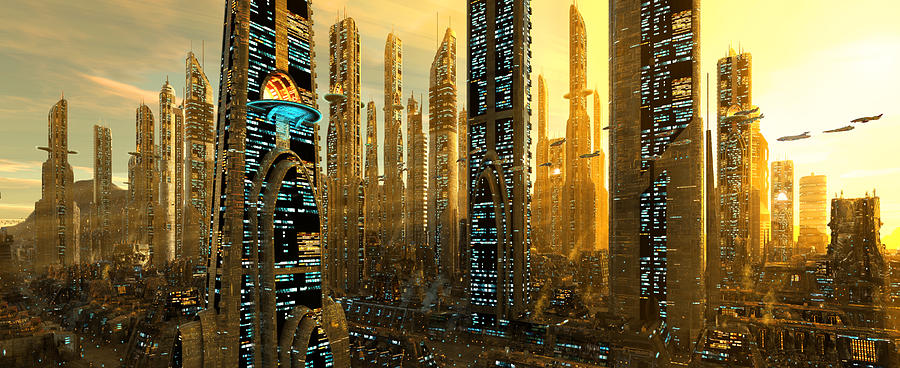 Future Digital Art - City of Gold by Patrick Turner