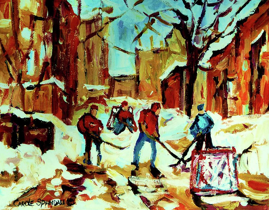 Montreal Painting - City Of Montreal Hockey Our National Pastime by Carole Spandau