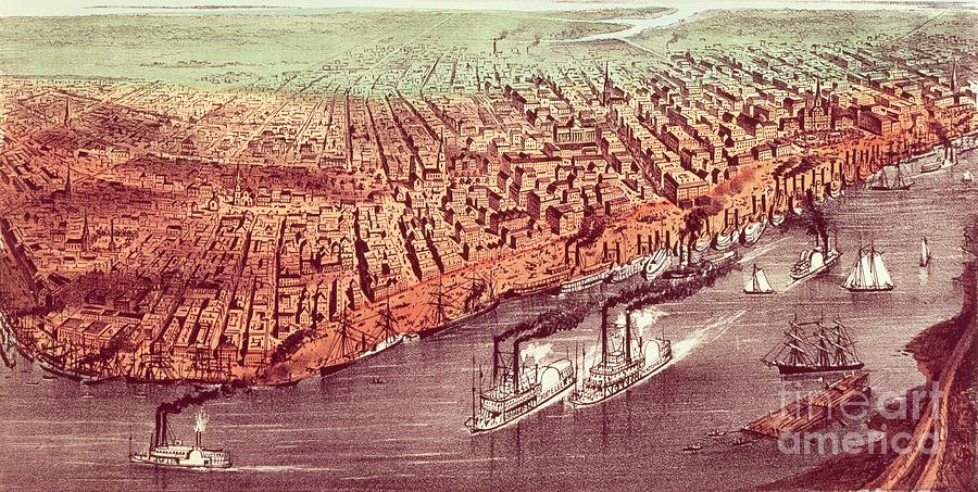 City Painting - City Of New Orleans by Currier and Ives