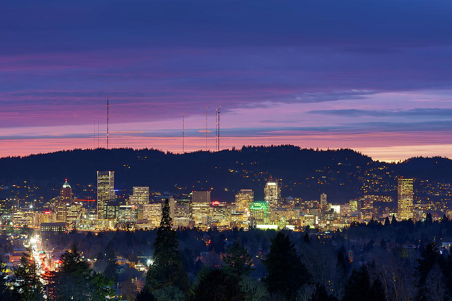 Portland Photograph - City Of Portland Oregon Skyline At Twilight by David Gn