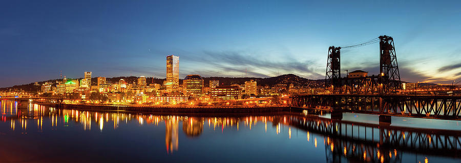 Portland Photograph - City Of Portland Skyline Blue Hour Panorama by David Gn