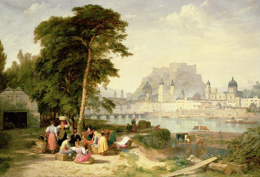 City Painting - City Of Salzburg by Philip Hutchins Rogers