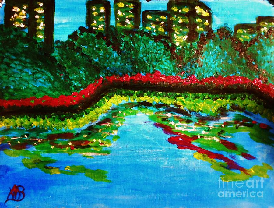 Landscape Painting - City Park At Night by Marie Bulger