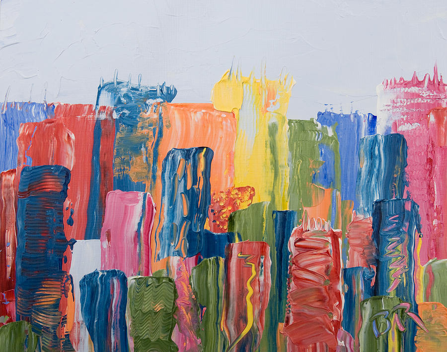 Abstract Painting - City Skyline 1 by Brad Rickerby