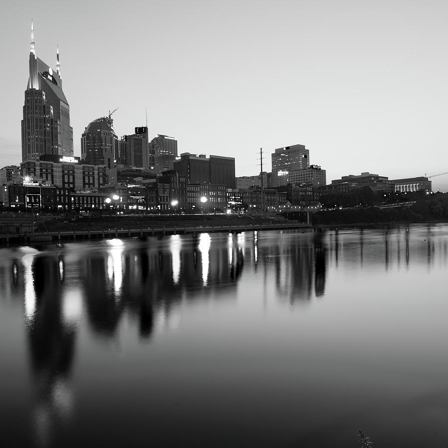 City skyline of nashville tennessee square art black and white