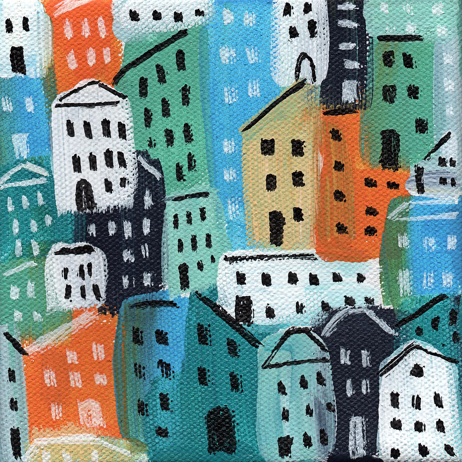 City Stories- Blue And Orange Painting
