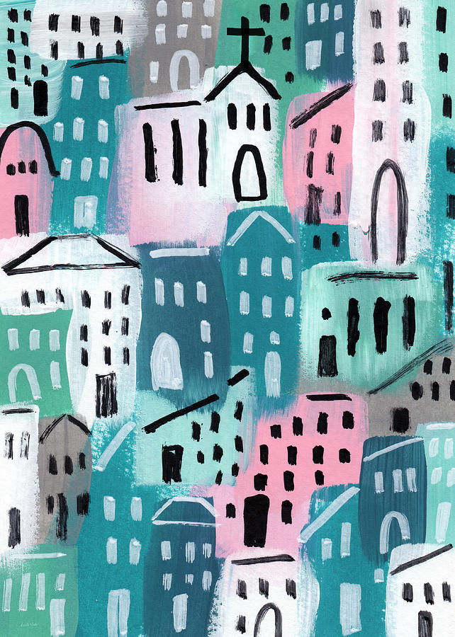 City Stories- Church On The Hill Painting