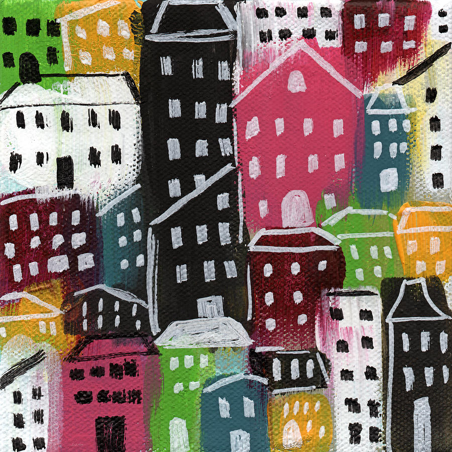 City Painting - City Stories- Colorful by Linda Woods