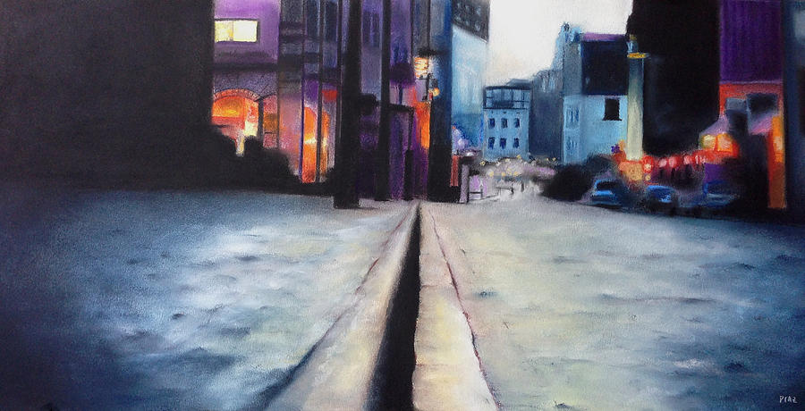 Chalk Pastel Pastel - City Street by Carrie Diaz