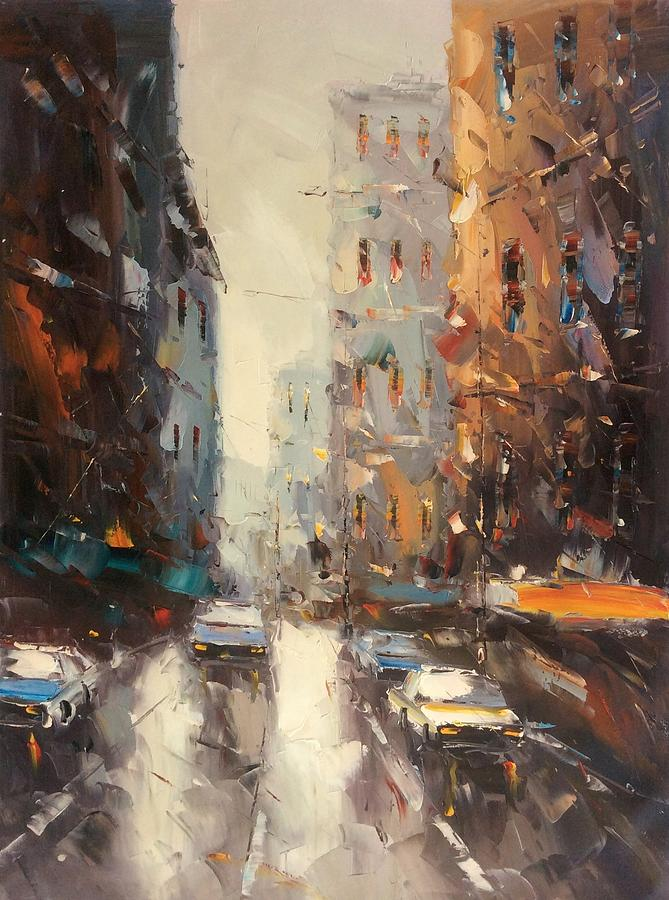 City Painting - City Street by Frank
