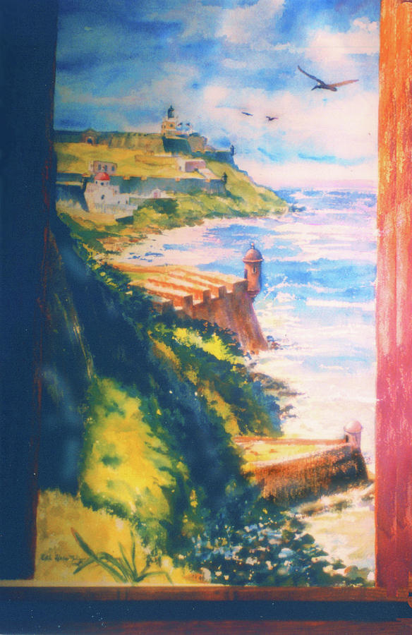 Caribbean Paintings Painting - City Wall And Sentry Boxes  San Juan Puerto Rico by Estela Robles