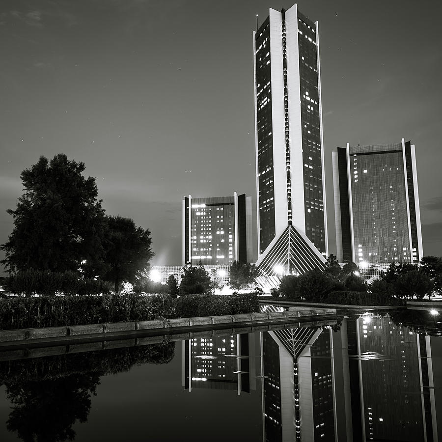 America photograph cityplex towers tulsa oklahoma square format black and white by gregory