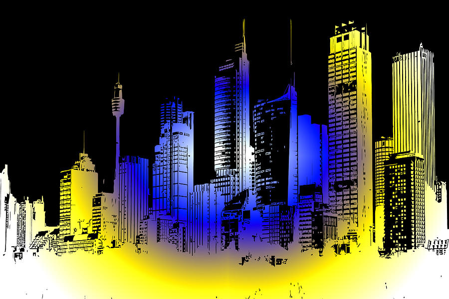 Buildings Digital Art - Cityscape 1 by Evelyn Patrick