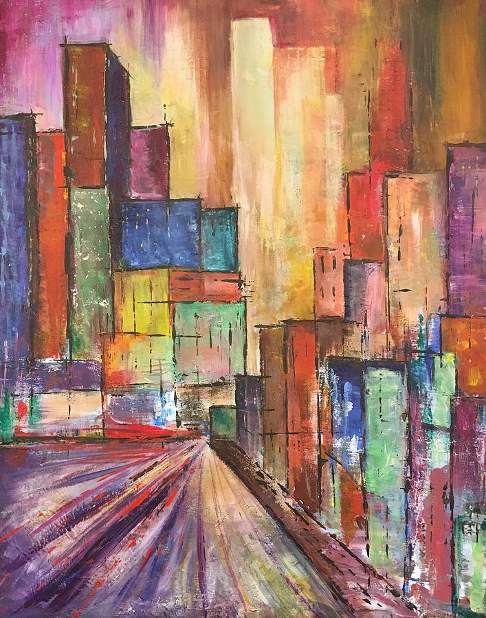 City Scape Mixed Media - Cityscape by Christine Chin-Fook