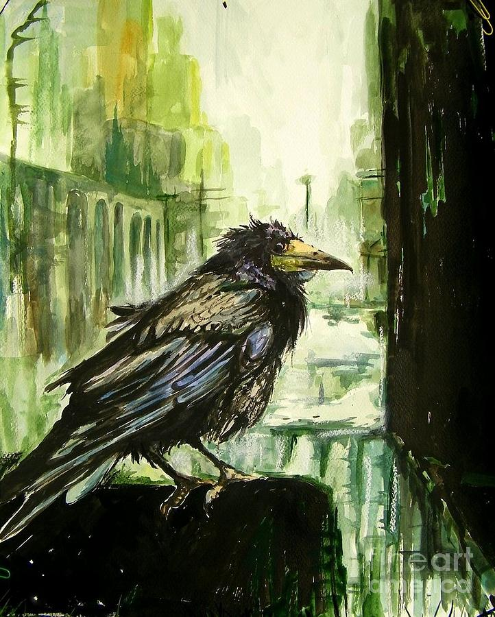 Pigeons Painting - Cityscape With A Crow by Suzann Sines