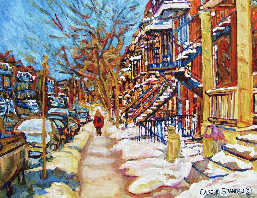 Montreal Painting - Cityscene In Winter by Carole Spandau