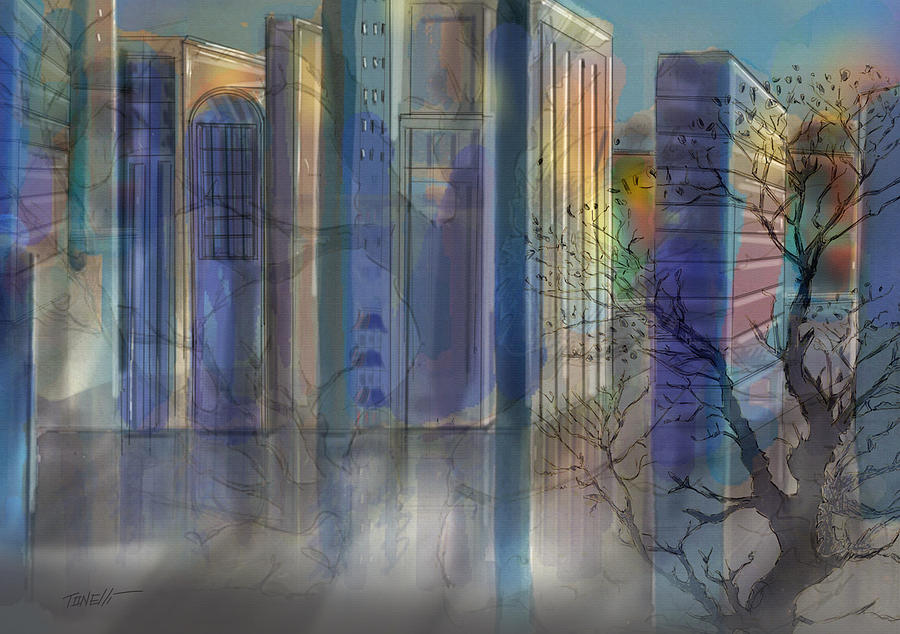 City Skylines Alone Together Mixed Media