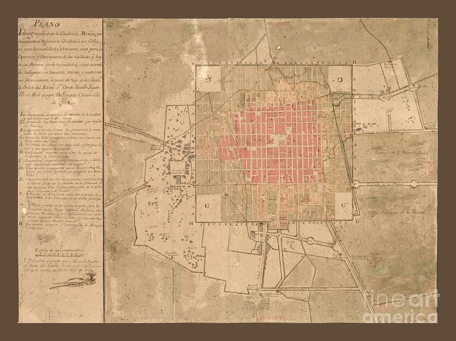 ciudad mexico vintage map photograph by pd
