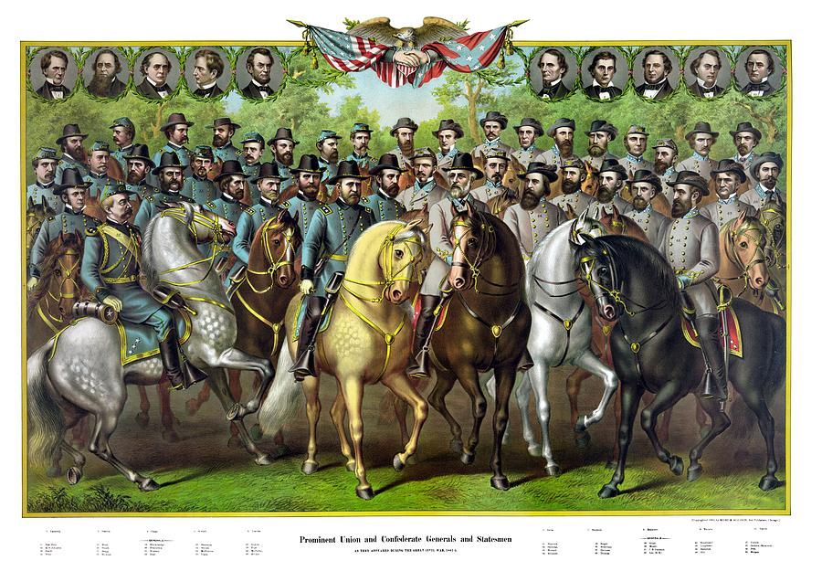 Civil War Painting - Civil War Generals and Statesman With Names by War Is Hell Store