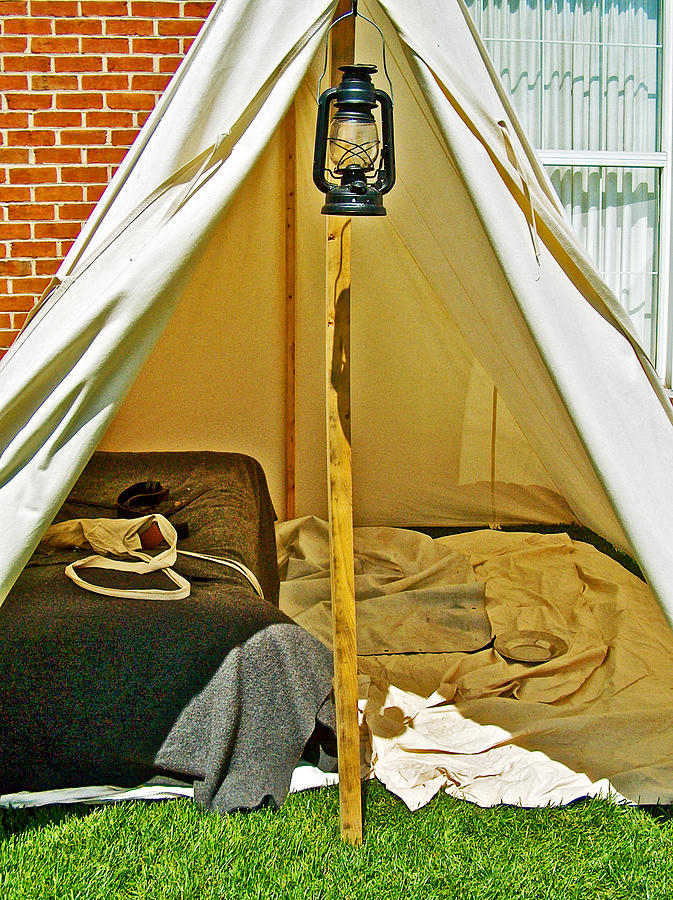 Pennsylvania Photograph - Civil War Soldiers Tent In Living History Reenactment Of A Civil War Military & Civil War Soldieru0027s Tent In Living History Reenactment Of A Civil ...
