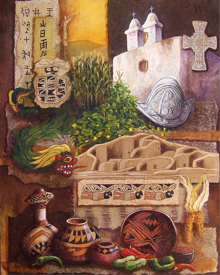 Collage Mixed Media - Civilizations Of Paquime by Candy Mayer