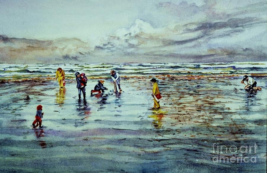 Seascape Painting - Clamdigging Family by Cynthia Pride
