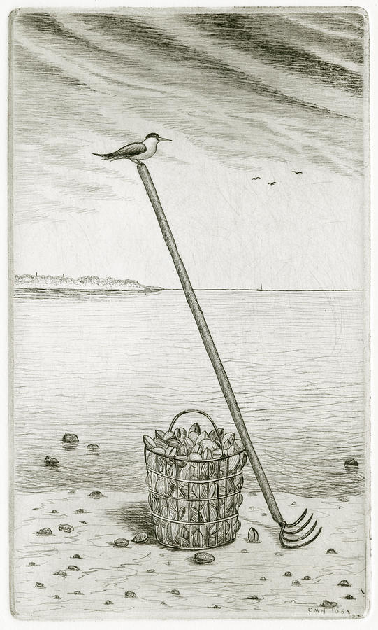 Charles Harden Drawing - Clamming by Charles Harden