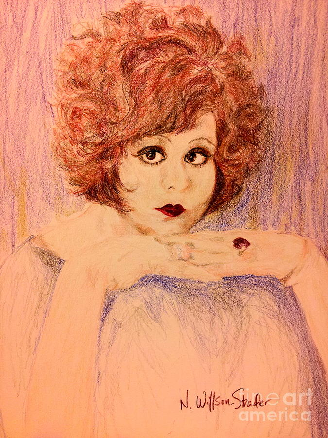 Clara Bow Drawing - Clara, Redhead by N Willson-Strader