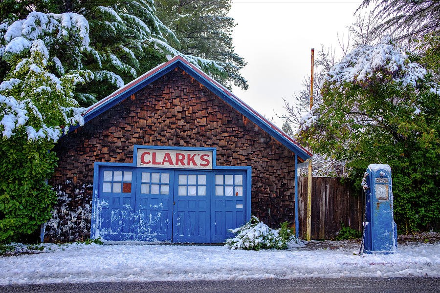 Clarks Photograph - Clarks Garage in Winter by Robin Mayoff