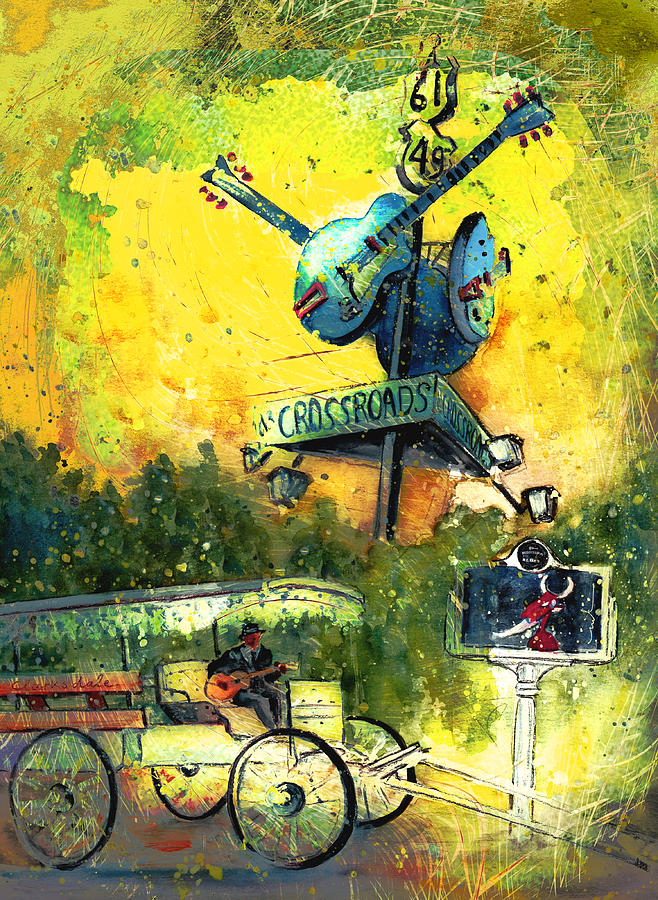 Travel Painting - Clarksdale Authentic Madness by Miki De Goodaboom