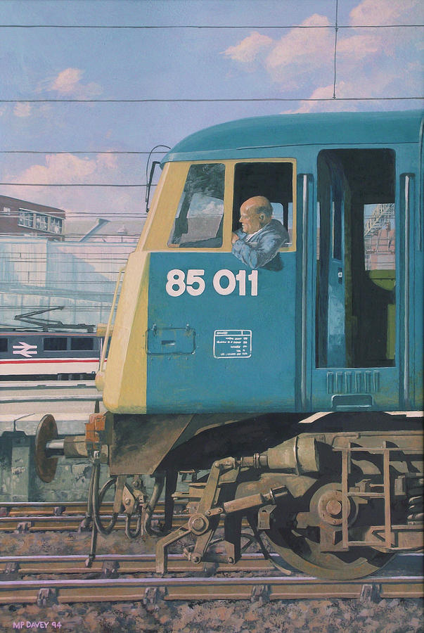 Locomotive Painting - Class 85 Electric Locomotive At Euston Station by Martin Davey