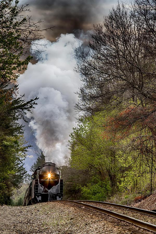 Class J 611 Steam Engine Approaching Black Mountain Photograph