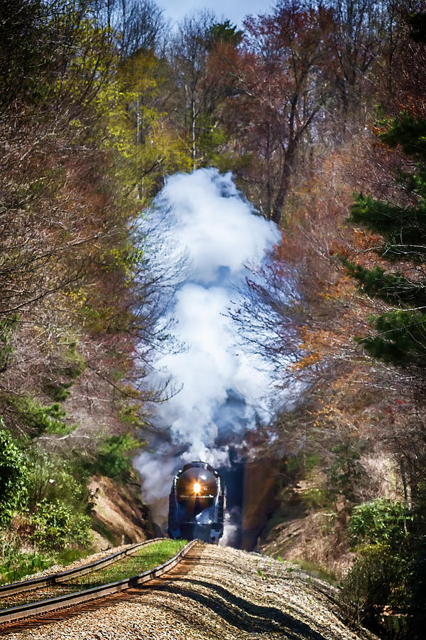 Class J 611 Steam Engine Exits Swannanoa Gap Tunnel Digital Art